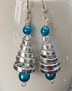 Silver and Blue Tree Earrings from the Christmas Collection