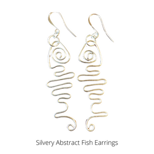 Abstract Fish Earring on Silver-plated Ear wires
