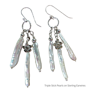 Stick Pearl Dangle Earrings on Sterling Silver Earwires