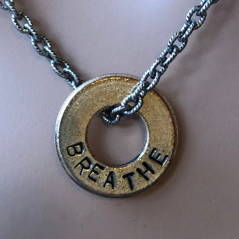 BREATHE Word Inspired necklace.  Hand Stamped