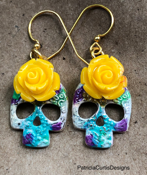 Sugar Skull Earrings with bright yellow rose