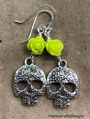 Sugar Skull earrings with lime green roses on Sterling Silver earwires