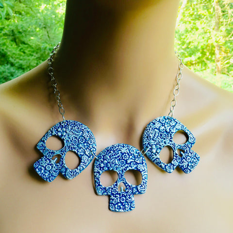 She loved the color blue...Sugar Skull Necklace