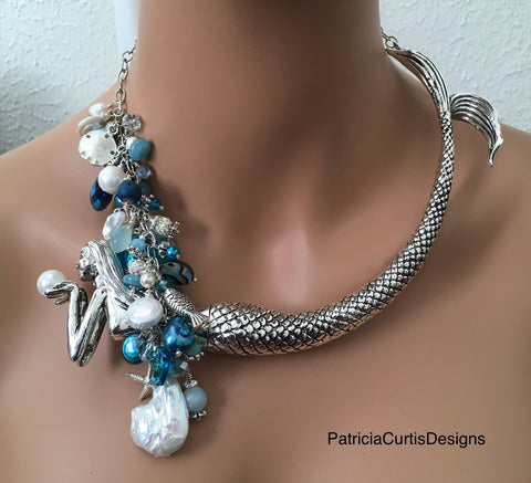 Large Mermaid Necklace:  Silvery Mermaid