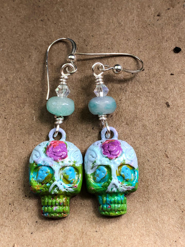 Sugar Skull Earrings with Agate Accent