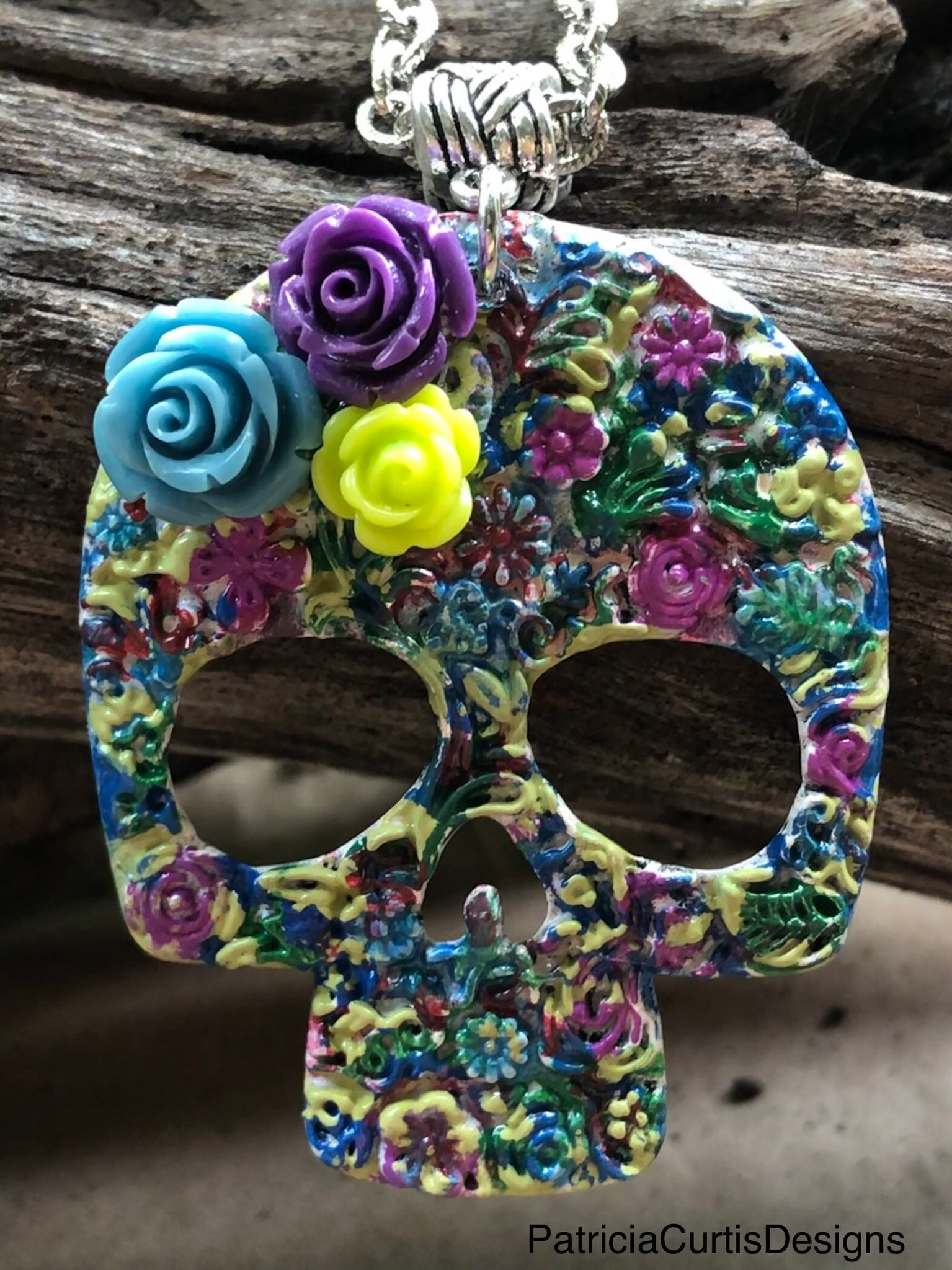 Sugar Skull Hand-Painted Necklace One of a Kind