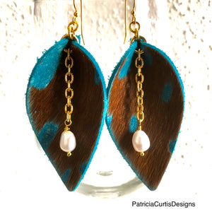 Leather Earrings - Larger Size 14k Gold-Plated Earwires
