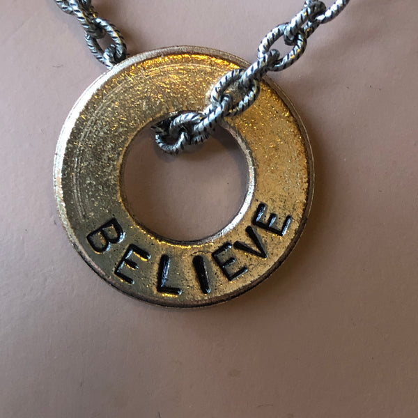 BELIEVE Word Inspired Necklace Hand Stamped