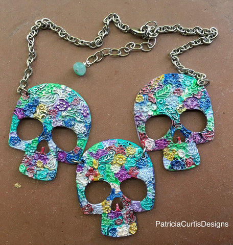 Colorful Sugar Skull Necklace