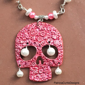 Pink was her favorite...Sugar Skull Necklace