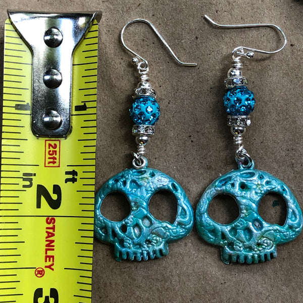 Hand-Painted Turquoise Blue Sugar Skull Earrings on Sterling Silver Earwires