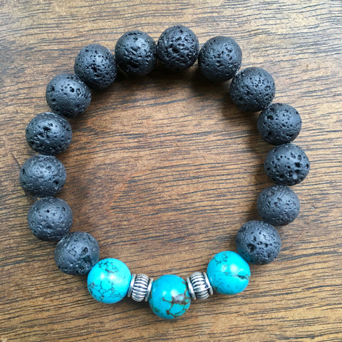 Lava Lava!  Lava rock and Turquoise Bracelet
