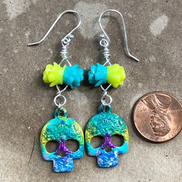 Bright Hand-Painted Sugar Skull Earrings on Sterling Earwires
