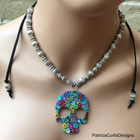 Brightly Hand-painted Sugar Skull Necklace.