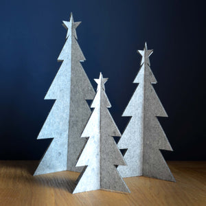 White Eco Felt Christmas Trees