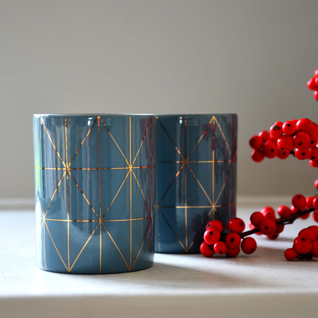 Teal Tealight Holder with Gold Pattern