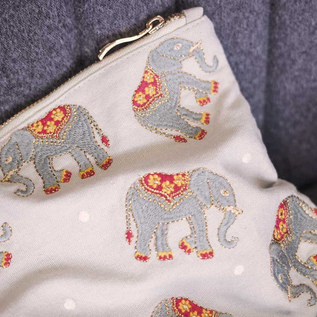 Elephant Embroidered Pouch
