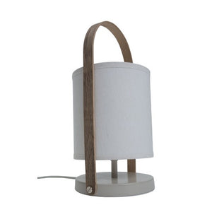 Table Lamp with Wooden Handle