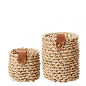 Set of Two Woven Paper Baskets- 3 Colours