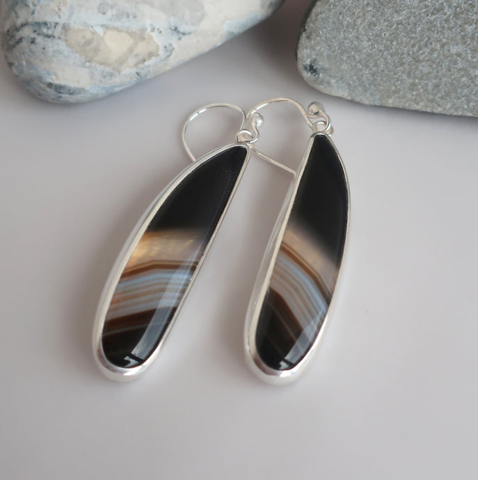Banded Agate Hook Earrings
