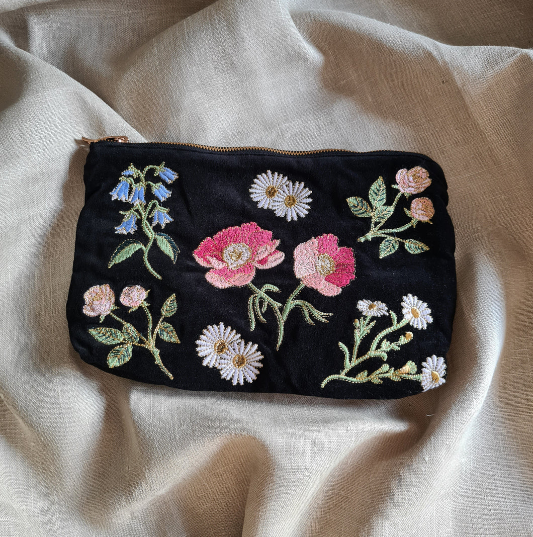 Flower Embroidered Pouch
