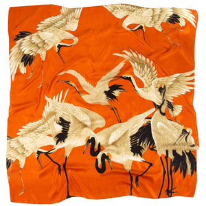 Orange Stork Silk Scarf