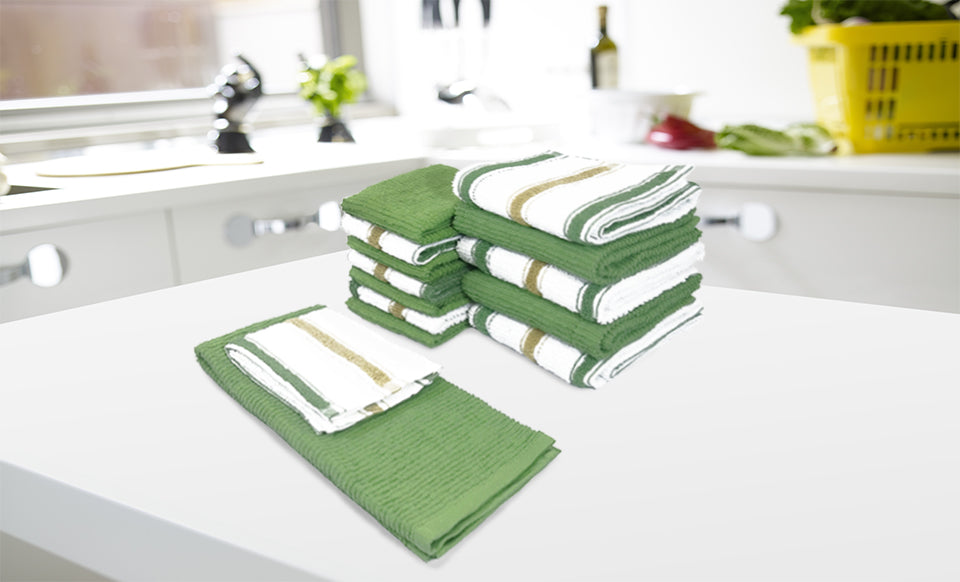 Kitchen Soft Goods including pot holders, kitchen towels, drying mats, placemats, napkins and tablecloths.