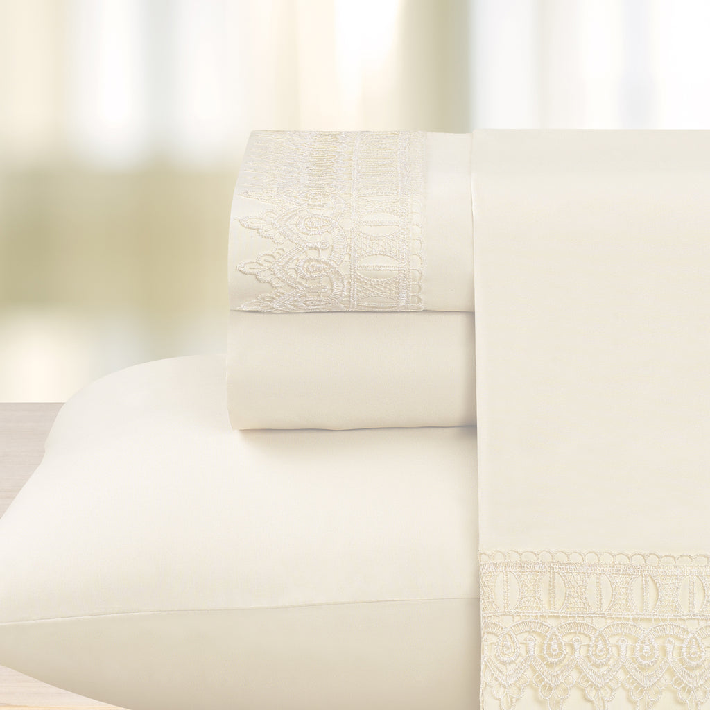Venice Lace Embroidered Microfiber Sheet Set