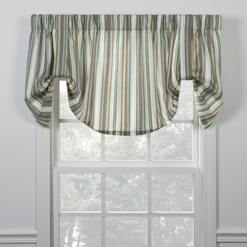 mason stripe rod pocket tie up valance - Kitchen Curtain
