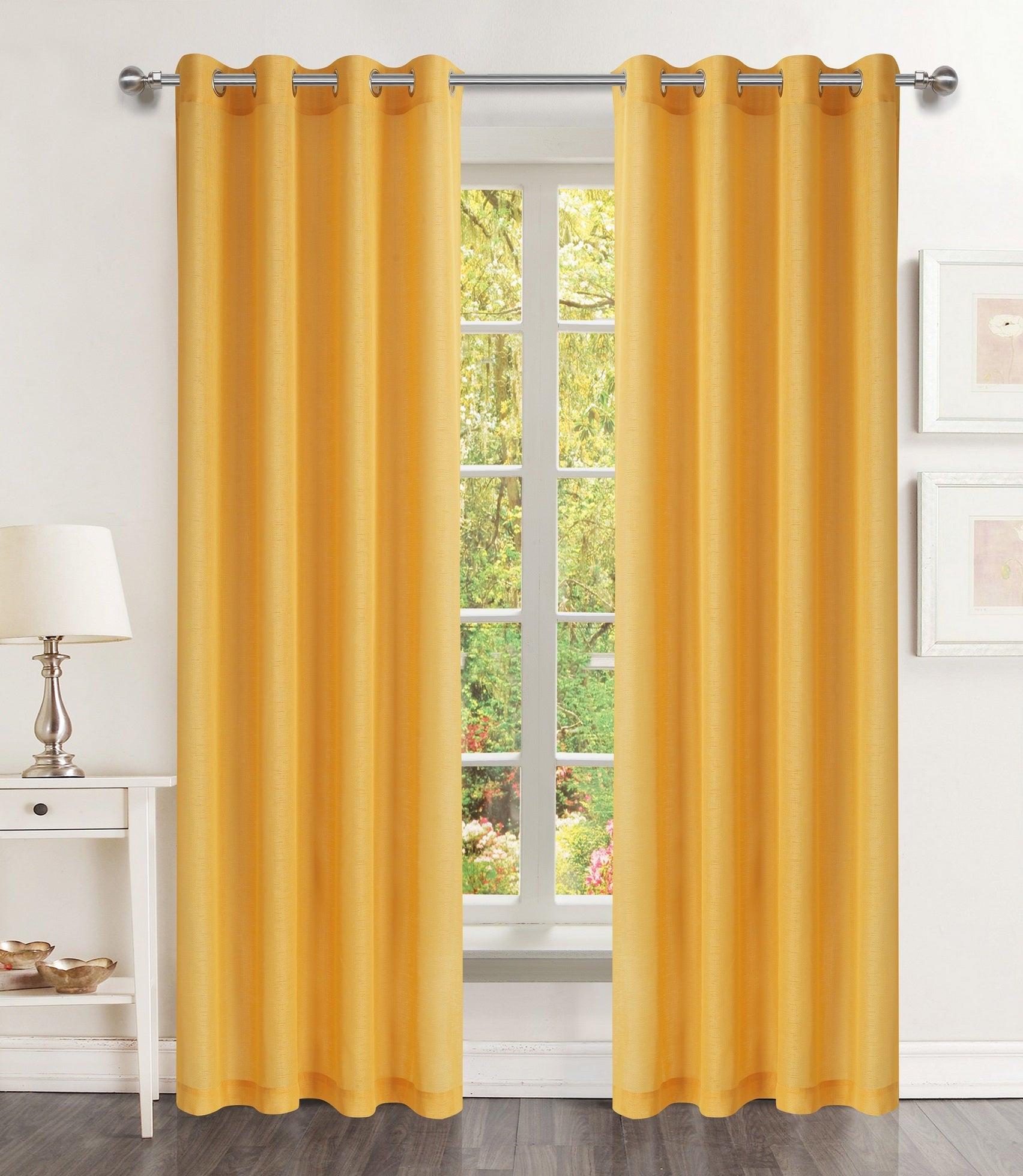 Lillies Solid Grommet Panel - 054x084 Mustard Yellow C46077- Marburn Curtains