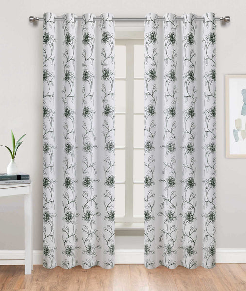 Tulip Time Grommet Panel - 054x084 White-Emerald Green C46090- Marburn Curtains