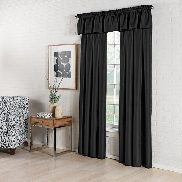 Ribcord Rod Pocket Panel - 055x063   Black  C40803- Marburn Curtains