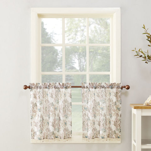 Coral Reef Rod Pocket Printed Tiers w/attached Shell Trim - 056x024 White C42481- Marburn Curtains