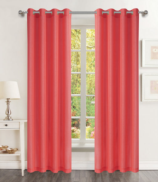 Lillies Solid Grommet Panel - 054x084 Red C46082- Marburn Curtains