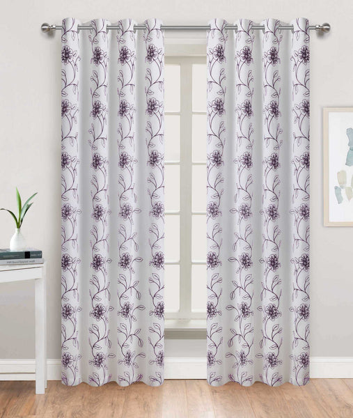 Tulip Time Grommet Panel - 054x084 White-Grape C46089- Marburn Curtains