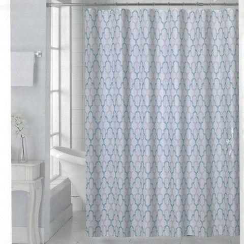 Charlton Salon de Maison Fabric Shower Curtain Aqua - - Marburn Curtains