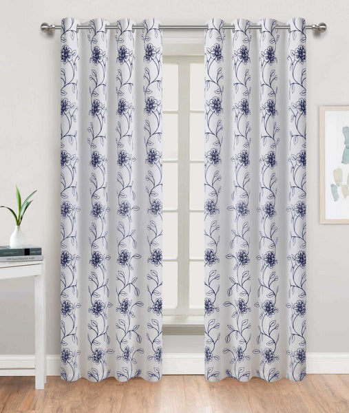 Tulip Time Grommet Panel - 054x084 White-Navy C46091- Marburn Curtains