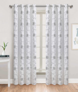 Tulip Time Grommet Panel - 054x084 White-Silver C46088- Marburn Curtains