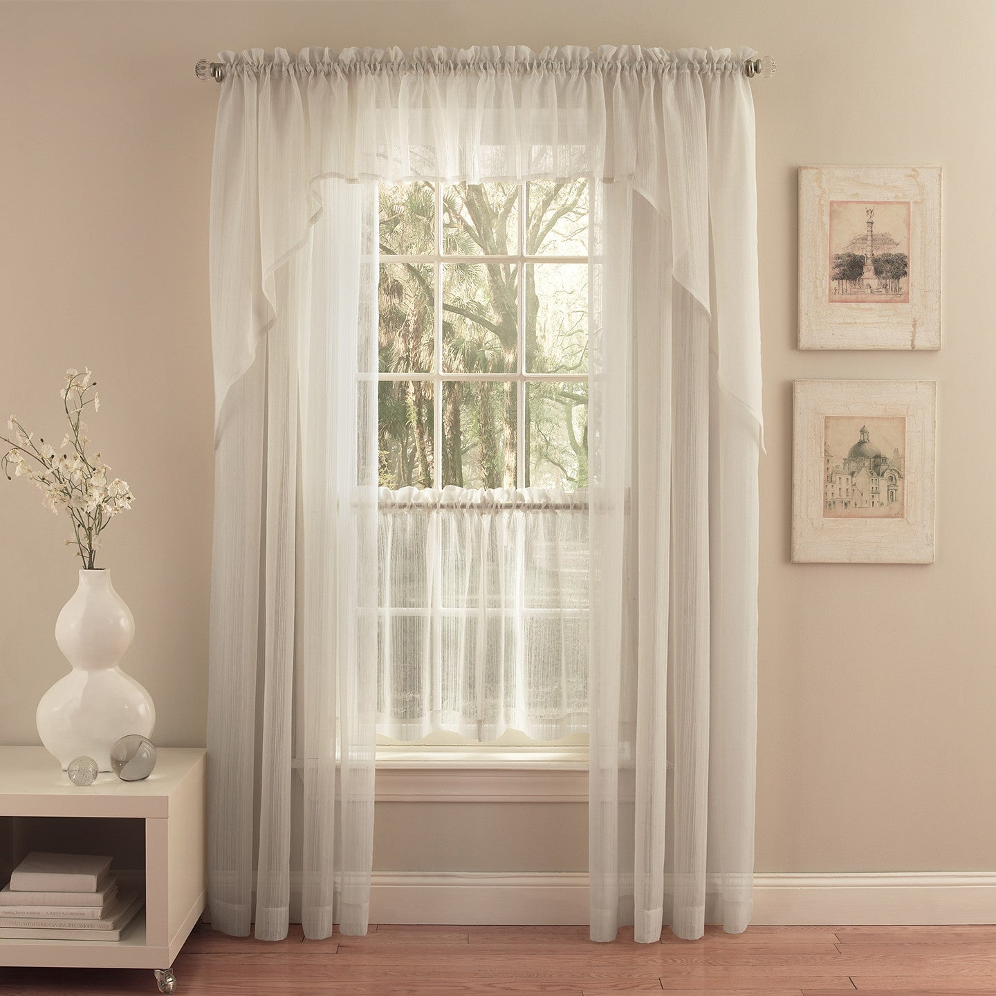 Harmony Sheer Rod Pocket Panel Collection - Panel   056x063 Ivory C28962- Marburn Curtains