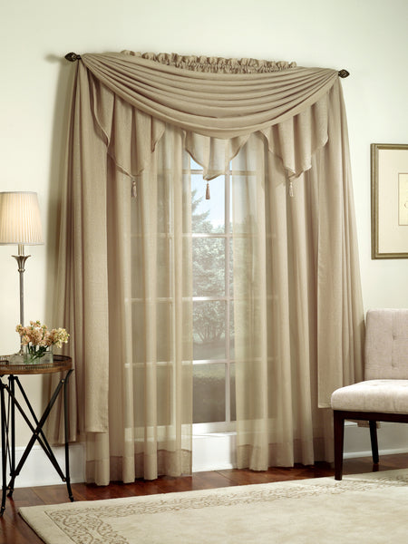 Reverie Rod Pocket Semi-Sheer Snow Voile Panel Collection - Panel  060x063 Taupe C33466- Marburn Curtains