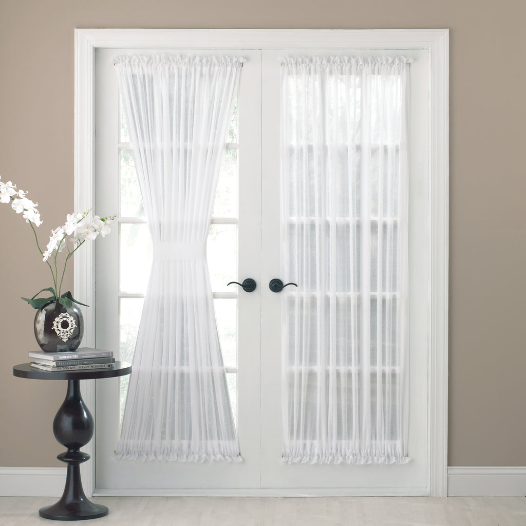 Reverie Rod Pocket Semi Sheer Snow Voile Door Panel