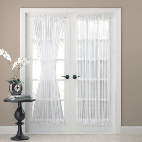 Reverie Rod Pocket Semi-Sheer Snow Voile Door Panel - Door Panel 060x036 White C25860- Marburn Curtains