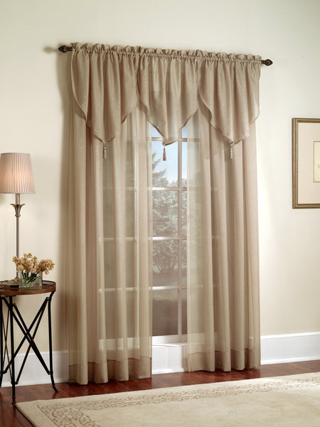 Reverie Rod Pocket Semi-Sheer Snow Voile Panel Collection - Panel  060x063 Chocolate C33462- Marburn Curtains