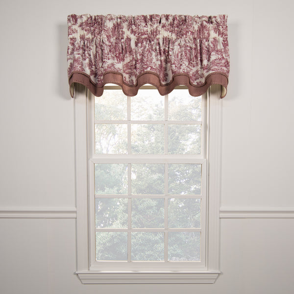 Victoria Park Toile Rod Pocket Bradford Valance - Bradford Valance 070x015 Red C30817- Marburn Curtains