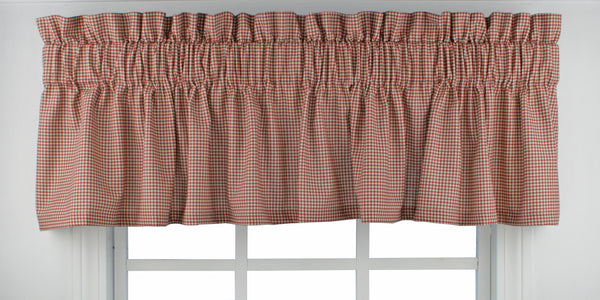 Logan Check Rod Pocket Tier/ Valance - Tailored Valance 070x012 Red C31827- Marburn Curtains
