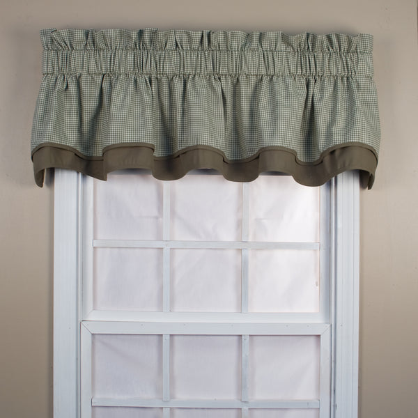 Logan Check Rod Pocket Tier/ Valance - Bradford Valance 070x015 Green C31820- Marburn Curtains
