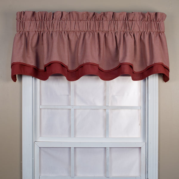 Logan Check Rod Pocket Tier/ Valance - Bradford Valance 070x015 Red C31822- Marburn Curtains