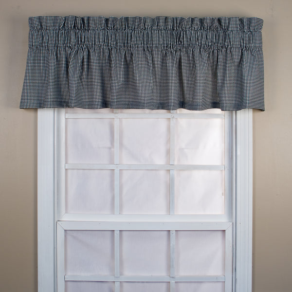 Logan Check Rod Pocket Tier/ Valance - Tailored Valance 070x012 Black C31823- Marburn Curtains