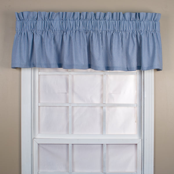Logan Check Rod Pocket Tier/ Valance - Tailored Valance 070x012 Blue C31824- Marburn Curtains