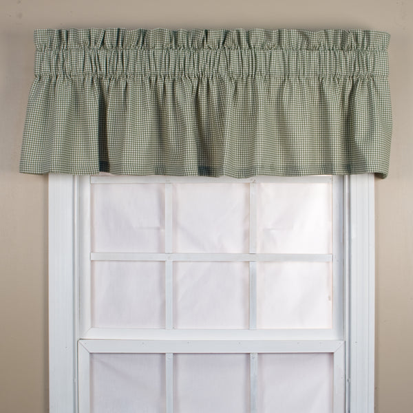 Logan Check Rod Pocket Tier/ Valance - Tailored Valance 070x012 Green C31825- Marburn Curtains